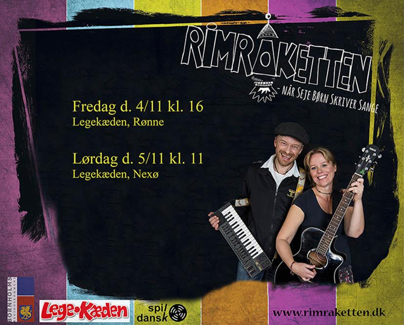 Børnemusikbandet RimRaketten duo består af June Beltoft (sang, guitar) og Thomas Thor (keyboards). I anledning af Spil Dansk 2016 spiller de i Legekæden i hhv. Rønne og Nexø på Bornholm
