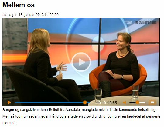 June Beltoft fra et interview i udsendelsen Mellem Os i TV2-Bornholm